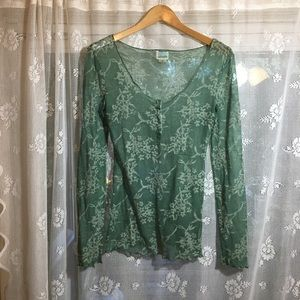 See threw lace green layering top